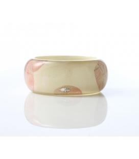 Antonella Piacenti, bracciale rigido large in resina naturale e argento. Colore Fuxia PASCIA Bouganvlille