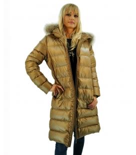 Moncler, Piumino oro donna con cappuccio