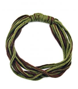 Attacchi d'arte, Collana cravatta in T-shirt verde e marrone riciclata