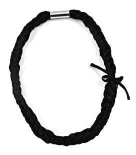 Attacchi d'arte, Collana cravatta in Collant nero e tubolare in ferro