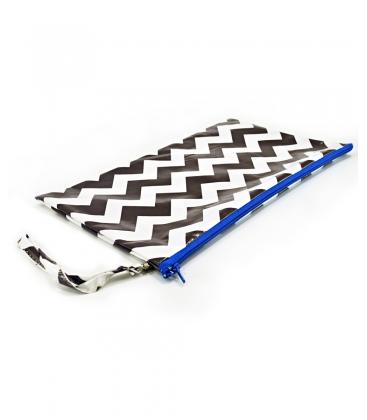 pochette con manico cerniera blu