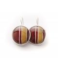 Antonella Piacenti, orecchini rotondi in argento e resina naturale con seta, colore rosso, BATIK-JAVA.