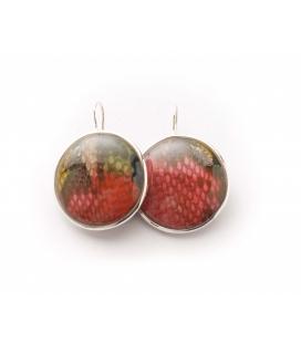 Antonella Piacenti, orecchini rotondi in argento e resina naturale con pelle di pitone. Colore multicolor. Dang Bi-Instinct
