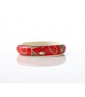 Antonella Piacenti, bracciale rigido in resina naturale epossidica, seta e argento. Colore Crema/Rosso BATIK SUMATRA