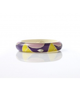 Antonella Piacenti, bracciale rigido in resina naturale epossidica, seta e argento. Colore Giallo/Viola BATIK JAKARTA