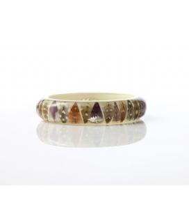 Antonella Piacenti, bracciale rigido in resina naturale epossidica, piume e argento. Colore Multicolor PIUMA SUN