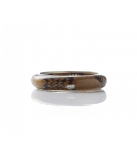 Antonella Piacenti, bracciale rigido in resina naturale epossidica, pitone e argento. Colore Marrone. DANG BI instinct