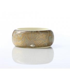 Antonella Piacenti, bracciale rigido large in resina naturale e argento. Colore Verde PASCIA Damask
