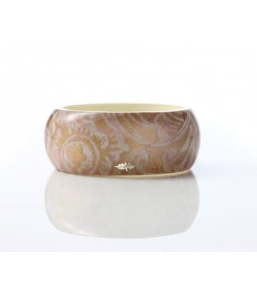 Antonella Piacenti, bracciale rigido large in resina naturale e argento. Colore Rosa/Viola PASCIA Damask