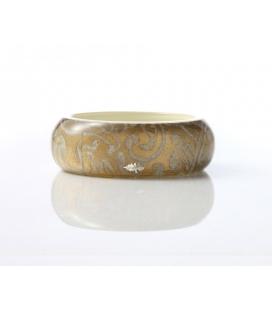 Antonella Piacenti, bracciale rigido medium in resina naturale e argento. Colore Verde PASCIA Damask