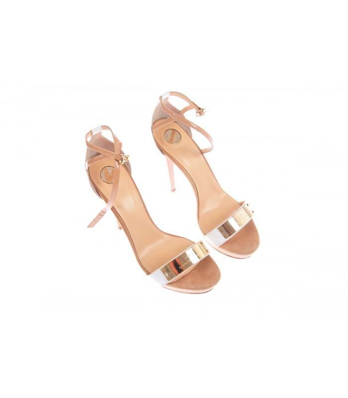 5c12713406 Elisabetta Franchi, Sandalo donna in pelle color gesso e caramello ...