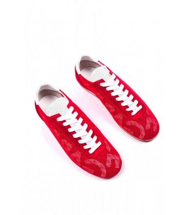 Dolce&Gabbana, sneakers basse in pelle e tessuto traforato Rosso