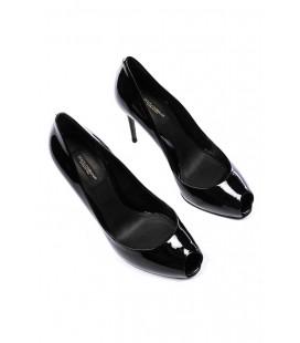 Dolce&Gabbana, décolleté spuntate nere in pelle laccata
