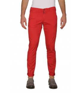 40Weft, pantalone a tubo col.Rosso