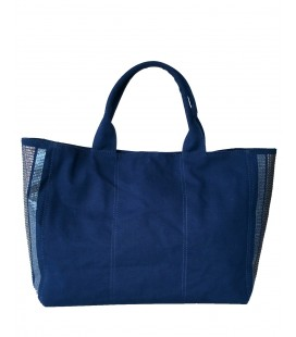 Pinko borsa donna canvas con paillettes color blu