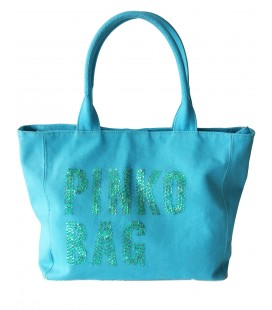 Pinko borsa donna canvas e metallo color blu