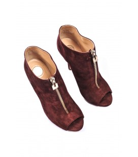Ankle boot camoscio con punta aperta Elisabetta Franchi