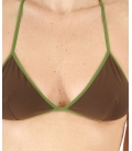 CHEEKY PAY, GREEN AND BROWN TRIANGLE BIKINI