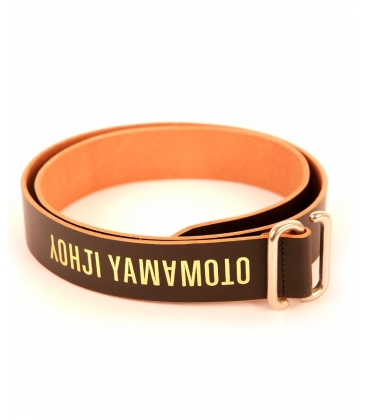 YAMAMOTO, LOGO PRINT AND LEATHER MADE BELT