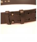 Brown leather belt , Yamamoto