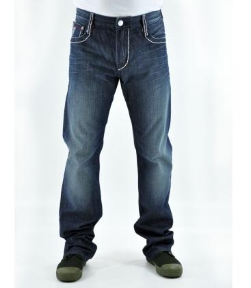 DOUBLE BLACK, jeans uomo con inserto bianco su tasca