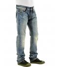 Double Black, Jeans blu lavato con applicazione