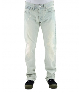 Double Black, Jeans effetto delavè con cuciture argentate