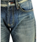 Double Black, jeans blu lavato con borchie
