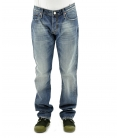 Double Black, jeans blu lavato con borchie ed applicazioni