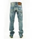 Double Black, jeans blu lavato con scritta ricamata ed applicazione