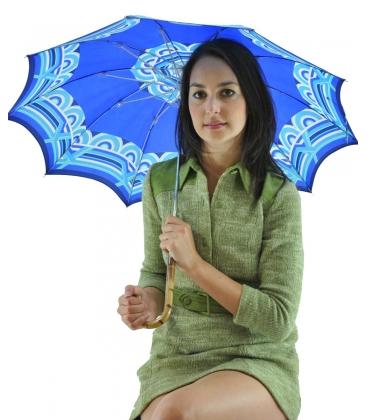 Ombrello blu motivo geometrico, vintage
