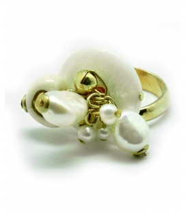 Thun, ring with heart pendants and white